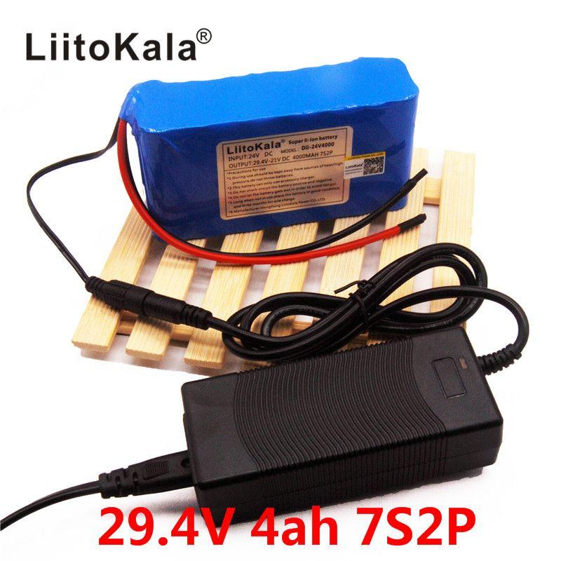 HK LiitoKala 24V 4Ah 7S2P 18650 Battery li-ion battery 29.4v 4000mah electric bicycle moped /electric +2A charger