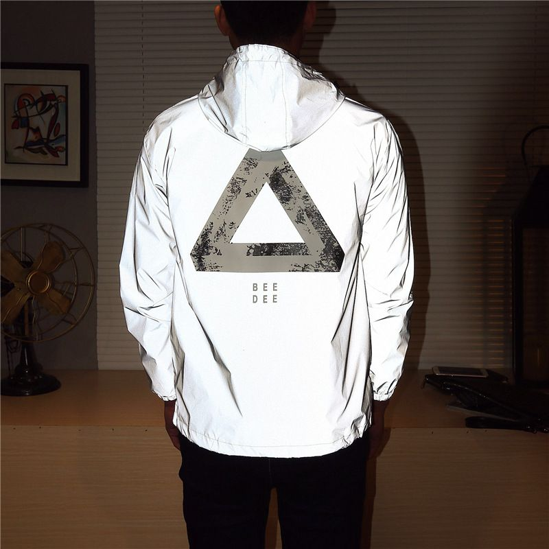 Men jacket casual hiphop windbreaker <font><b>reflective</b></font> jacket tide brand men and women lovers coat hooded fluorescent clothing