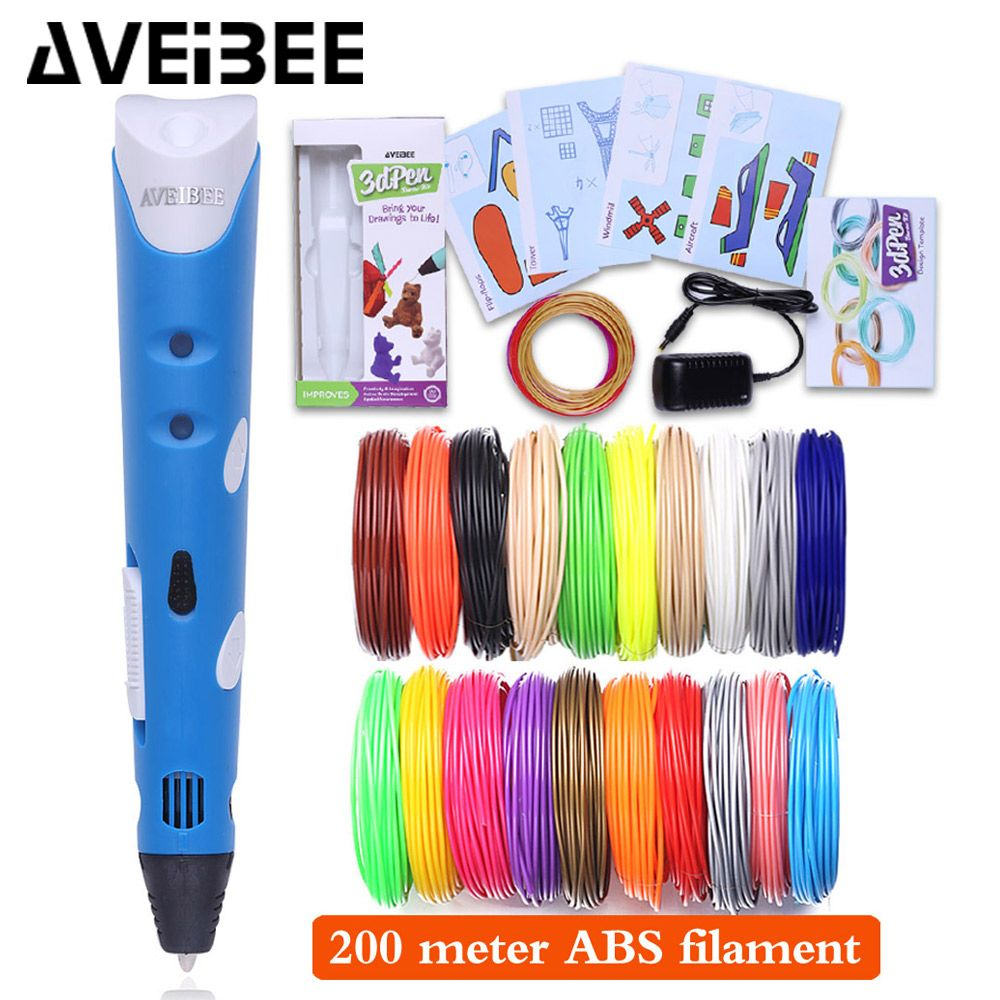 Aveibee Model 3D Pen 3 D Printer Drawing Magic Printing Pens With 100/200M Plastic ABS Filament School Supplies For Kids Gifts