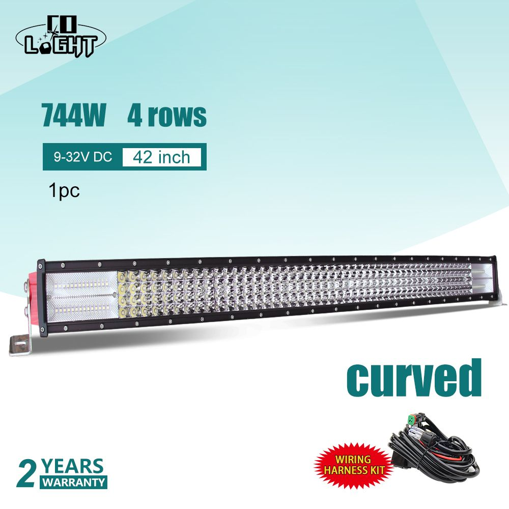 CO LIGHT 4X4 Car Led 42Inch Off Road 8D Curved Light Bar 744W Lights For Truck Tractor Uaz Vaz Lada Niva Kalina Toyota Rampe Led