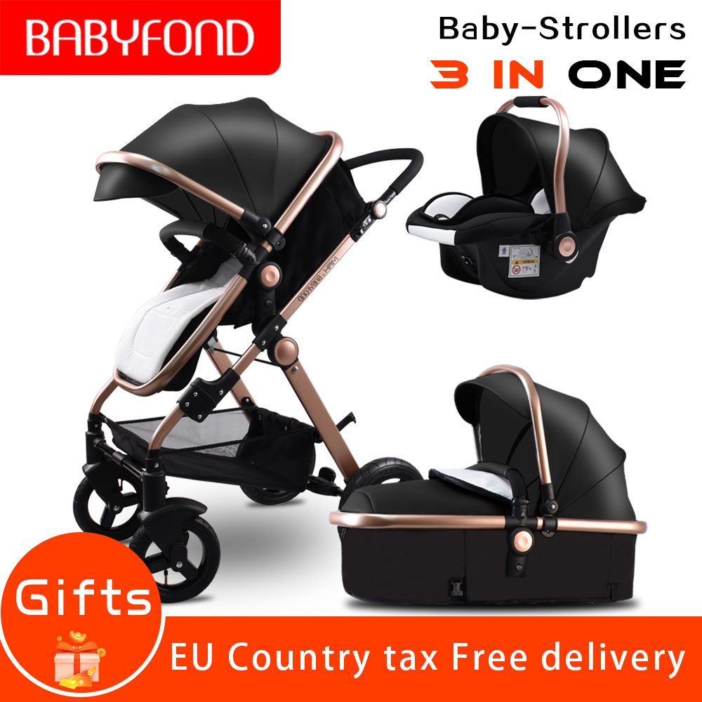 Europe 3-in-1 baby stroller 2017 new stroller high landscape trolley can sit can lay down luxury strollers umbrella car