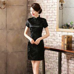 Pakaian Tradisional Mujer Vestido Wanita Panjang Satin Cheongsam Qipao Ukuran Bunga S-6XL Plum Blossom Qipao