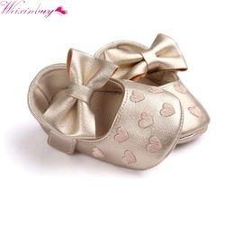 2017 PU cuero bebé mocasines Moccs zapatos arco franja Soft Soled calzado antideslizante cuna zapatos