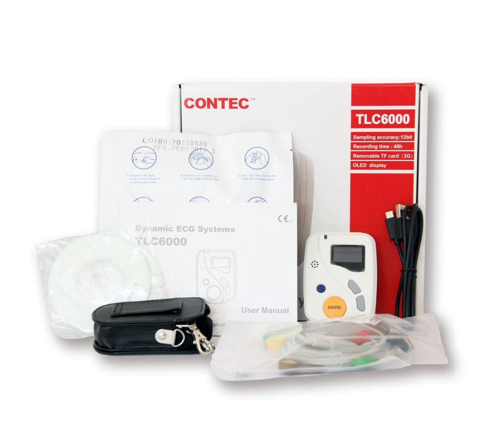 Contec Hersteller Versand TLC6000 Dynamische 12 Blei EKG Holter Systeme, 48 Stunden Recorder, Recorder & Analyse Software