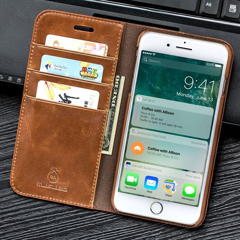 Musubo De Luxe Flip En Cuir étui pour iphone X 7 plus portefeuille sac de téléphone Couverture de Stand Pour iphone 8 6 Plus 6 s Plus 5 5 s SE Cas coque