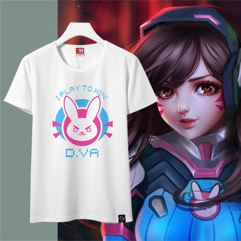 Kawaii femmes D. va T-shirt femmes Dva T-shirt dames Couple t-shirts D va manches courtes T-shirt Hana Song blanc noir bleu Diva T-shirt