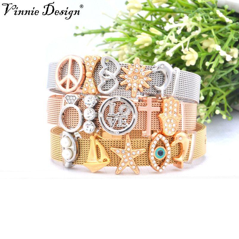 Ensembles de Bracelet de maille d'acier inoxydable de conception de Vinnie avec des clés de charmes de glissière de gardien bijoux de femmes de mode