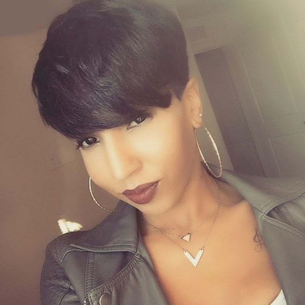 ELEMENT Pixie Cut Extra Short Straight Wig With Side Fringes Human Hair Mix Styling Synthetic Fiber Hairpiece for Black Women