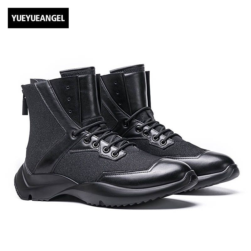 2018 Winter New Fashion Mens Round Toe Ankle Boots Lace Up Genuine Leather Cow Male Shoe Retro Punk Fur Lining Warm Thick Bottom