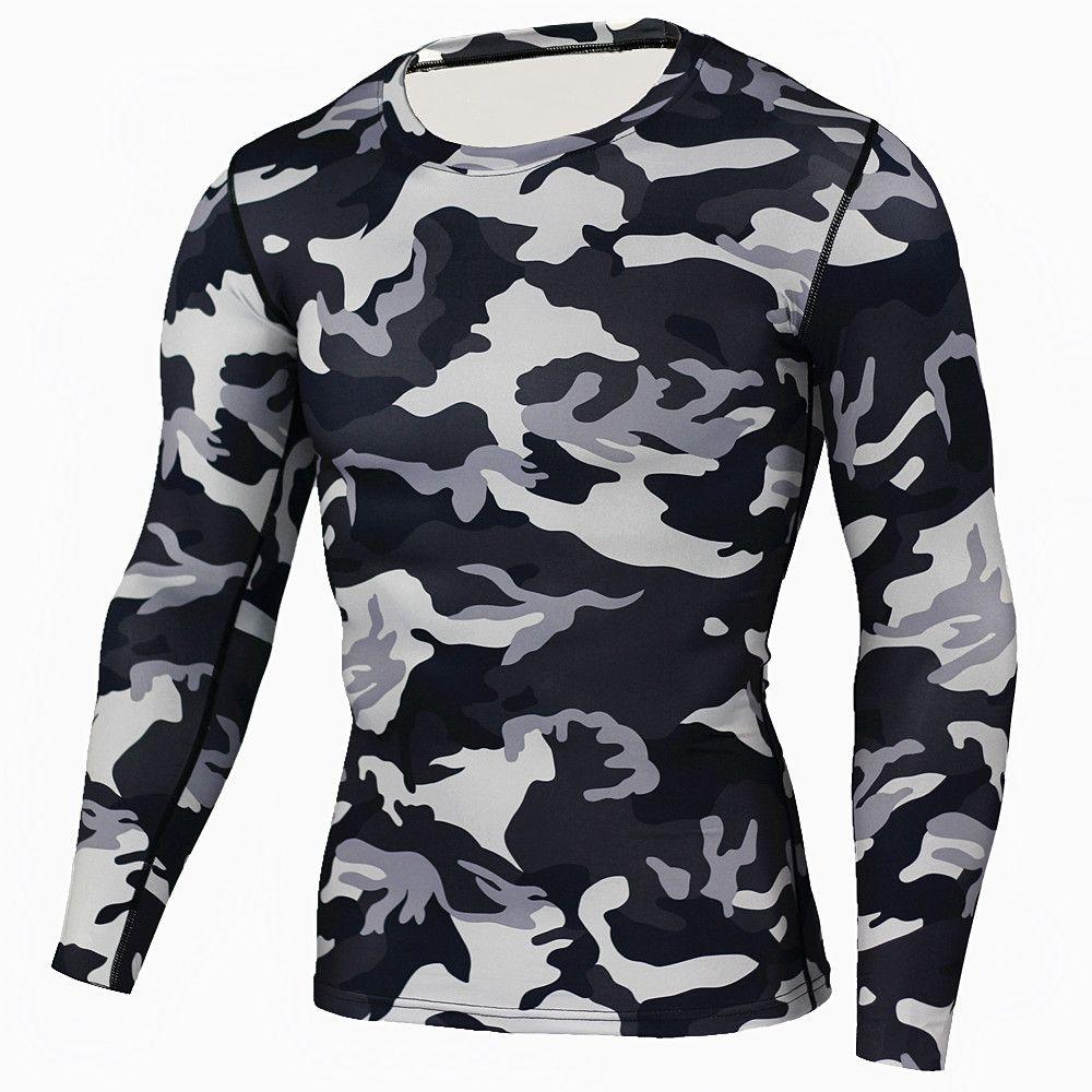 Nouveau Camouflage militaire T Shirt musculation collants Fitness hommes séchage rapide Camo à manches longues t-shirts formation Compression chemise