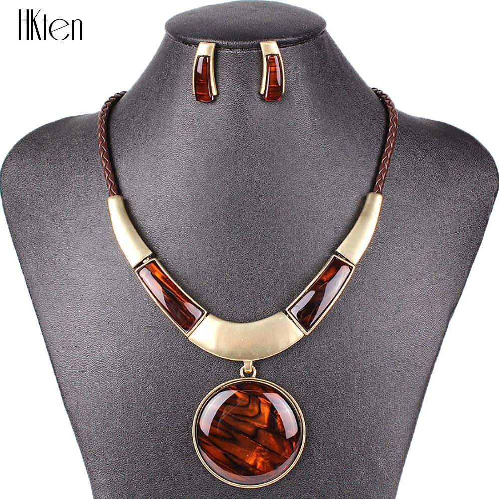 MS20129 Fashion Brand Jewelry Sets Round Pendant 5 Colors Faux Leather <font><b>Rope</b></font> High Quality Wholesale Price Party Gifts