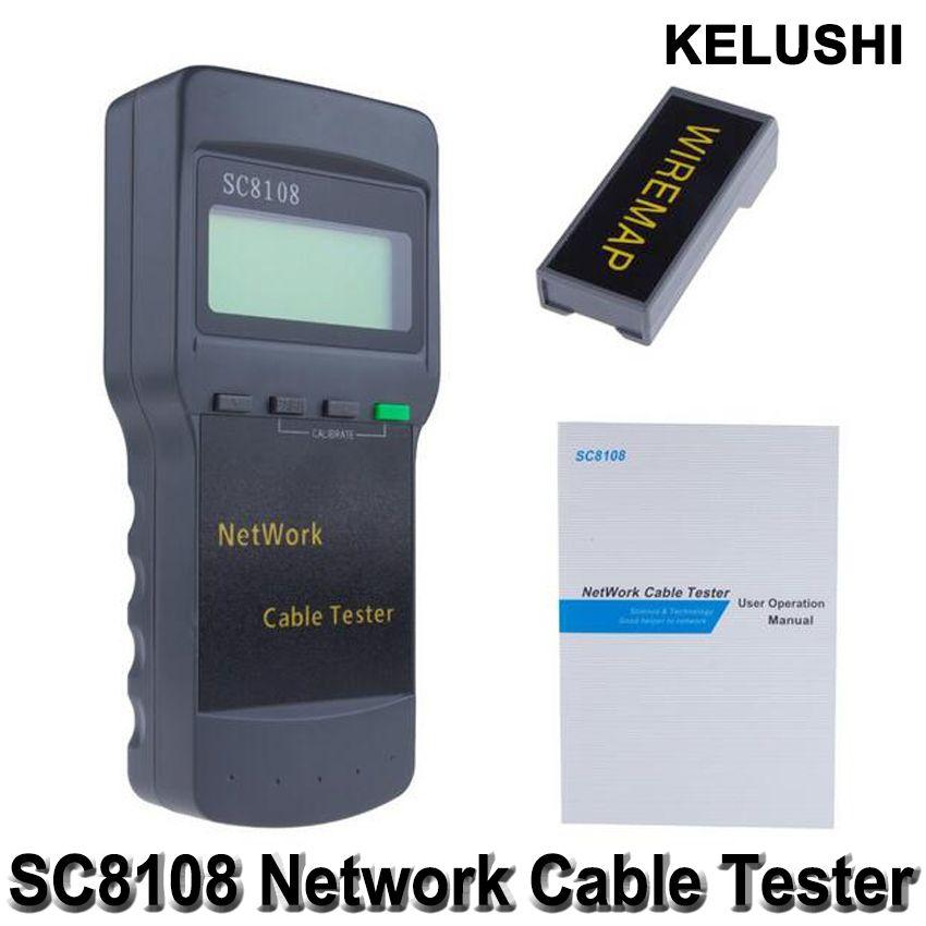 Testeur de réseau sans fil multifonction Portable KELUSHI Sc8108 LCD numérique PC données réseau CAT5 RJ45 LAN téléphone testeur de câble mètre