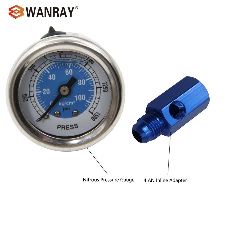 Replacement for NOS OR NX Nitrous pressure gauge +6 AN Inline Adapter