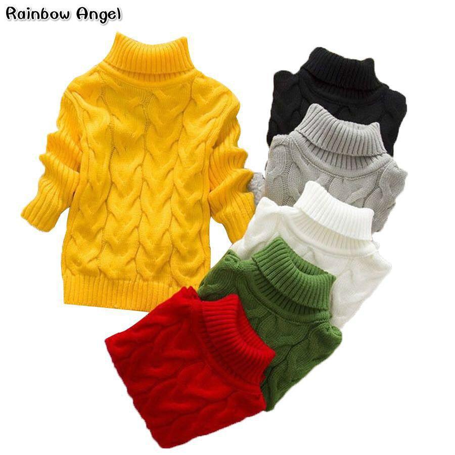 Garçon fille torsadé pull enfant en bas âge filles Bottoming col roulé pull pulls enfant mode enfants épais tricots hiver chandails