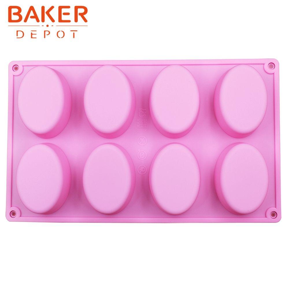 Silicone savon fait main moule 8 rainures ovales silicone pâtisserie gâteau moule bricolage moules SICM-008-13