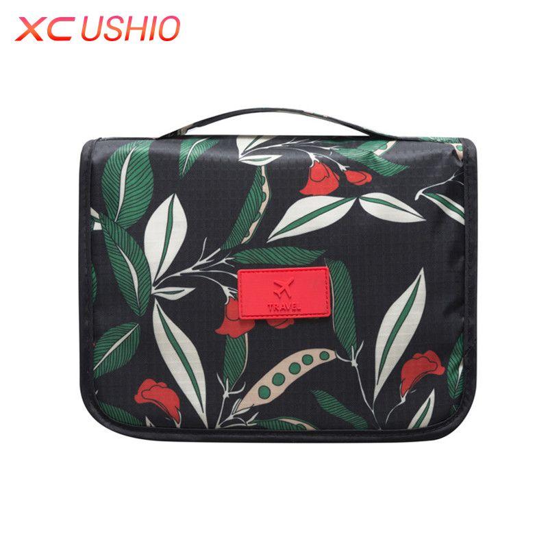 Floral Pattern Travel Toiletry Bag Women Hanging Cosmetic Bag Multifunctional Makeup Organizer Portable Men Wash Bag