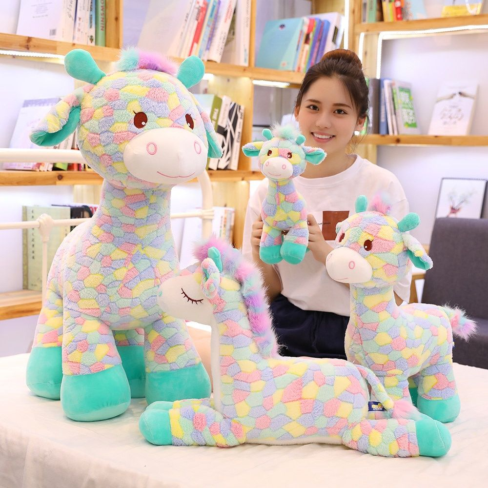 30-90CM Cute Colorful Deer Plush Toys Cartoon Animal Giraffe Dolls Stuffed Soft Dolls for Children Baby Birthday Gifts