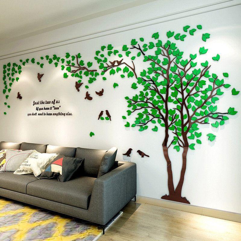 3D arbre acrylique miroir Sticker mural stickers bricolage Art TV fond mur affiche décoration de la maison chambre salon stickers muraux