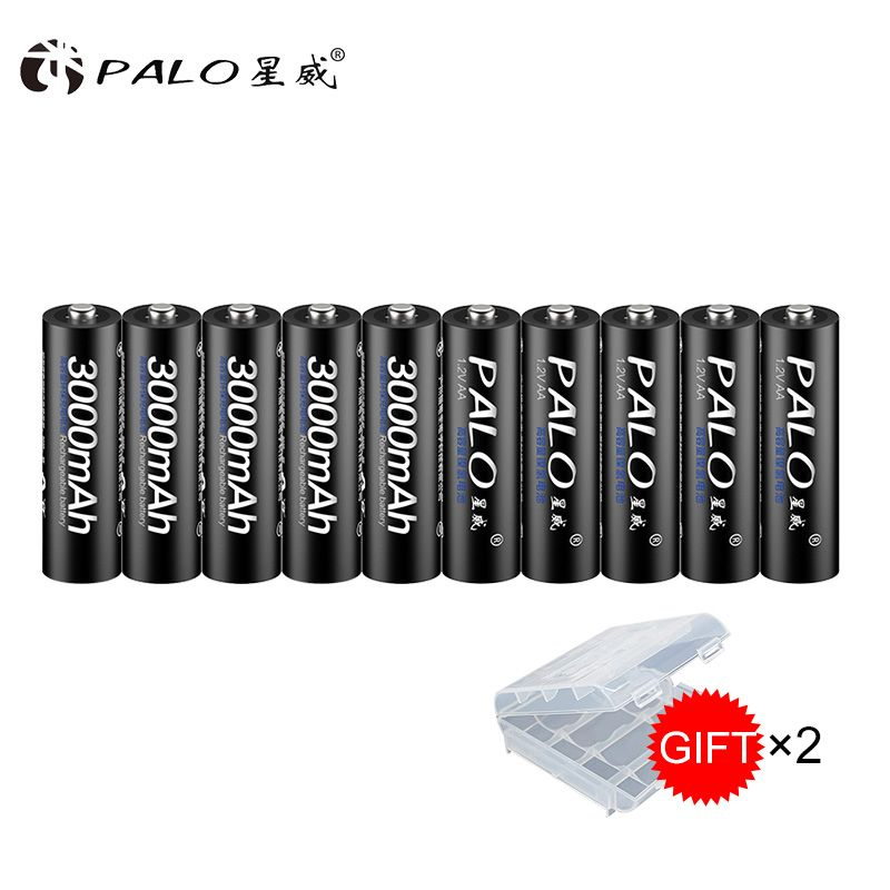 100% original PALO Battery 3000mah 1.2V NI-MH Battery Rechargeable Batteries Pre-<font><b>charged</b></font> 2A Baterias for Camera