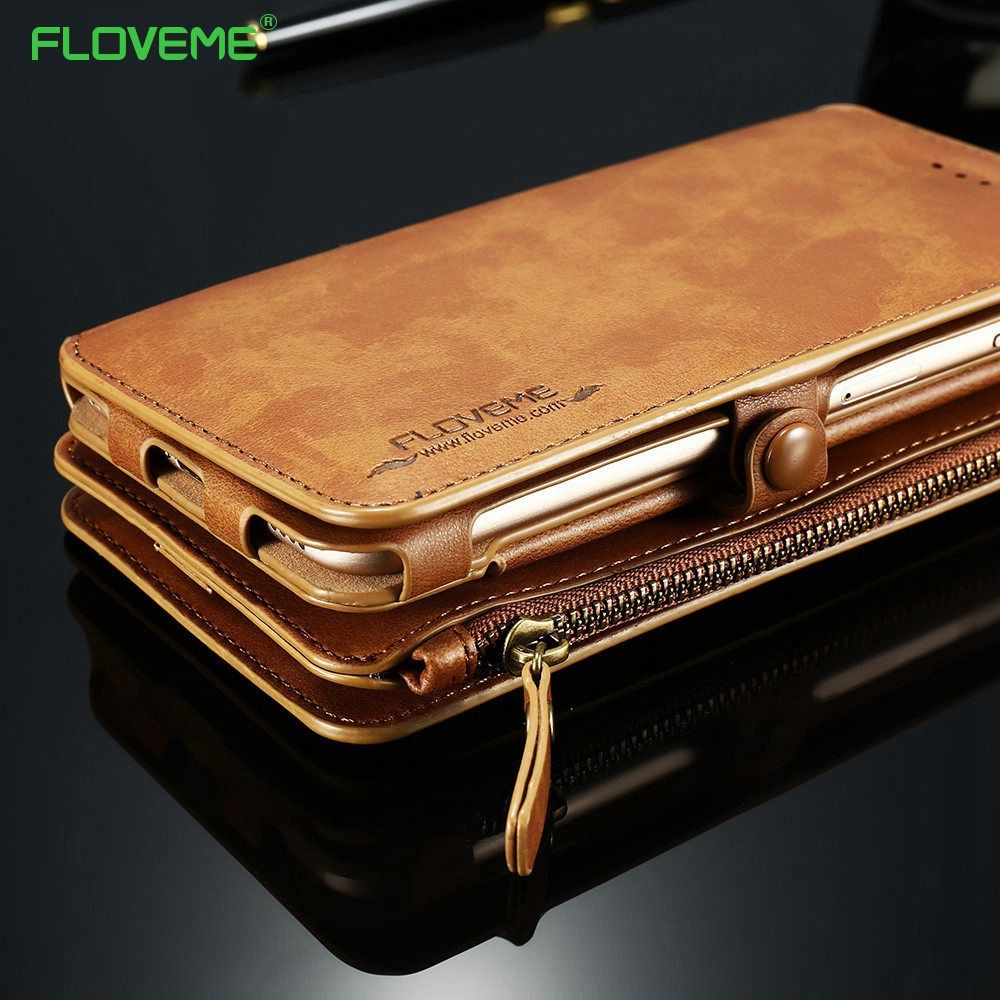 FLOVEME PU Leather Case For iPhone X 8 7 6s 6 Plus 5 5s SE Retro Wallet Cover For iPhone XS Max XR X Protective Phone Bag Shells