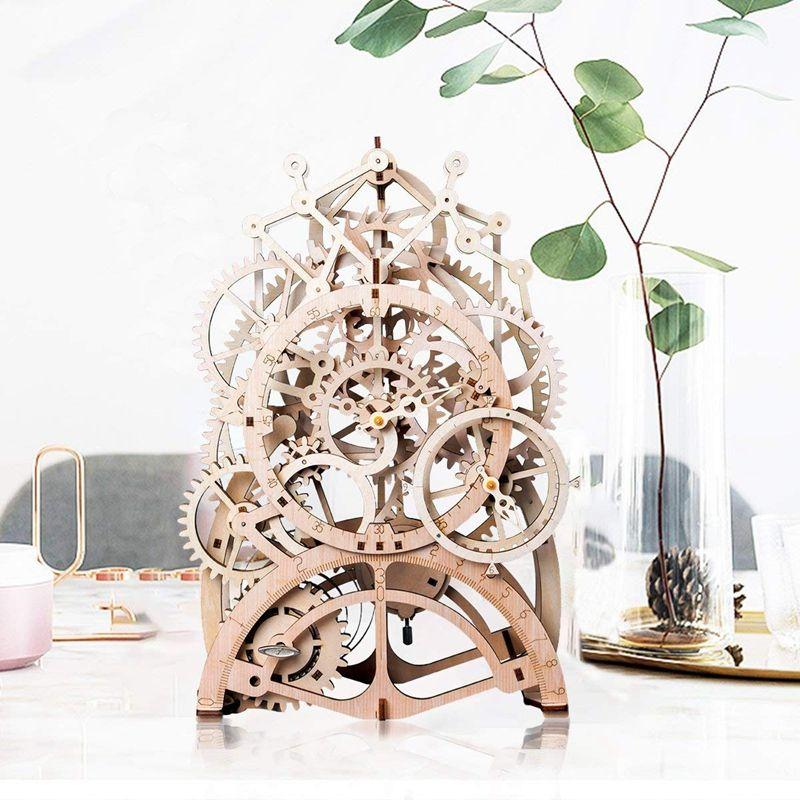 Vintage Home Decor DIY Crafts Wooden Pendulum Clock Model Kits Decoration Mechanical Gear Clockwork Christmas Gift for Boy LK501