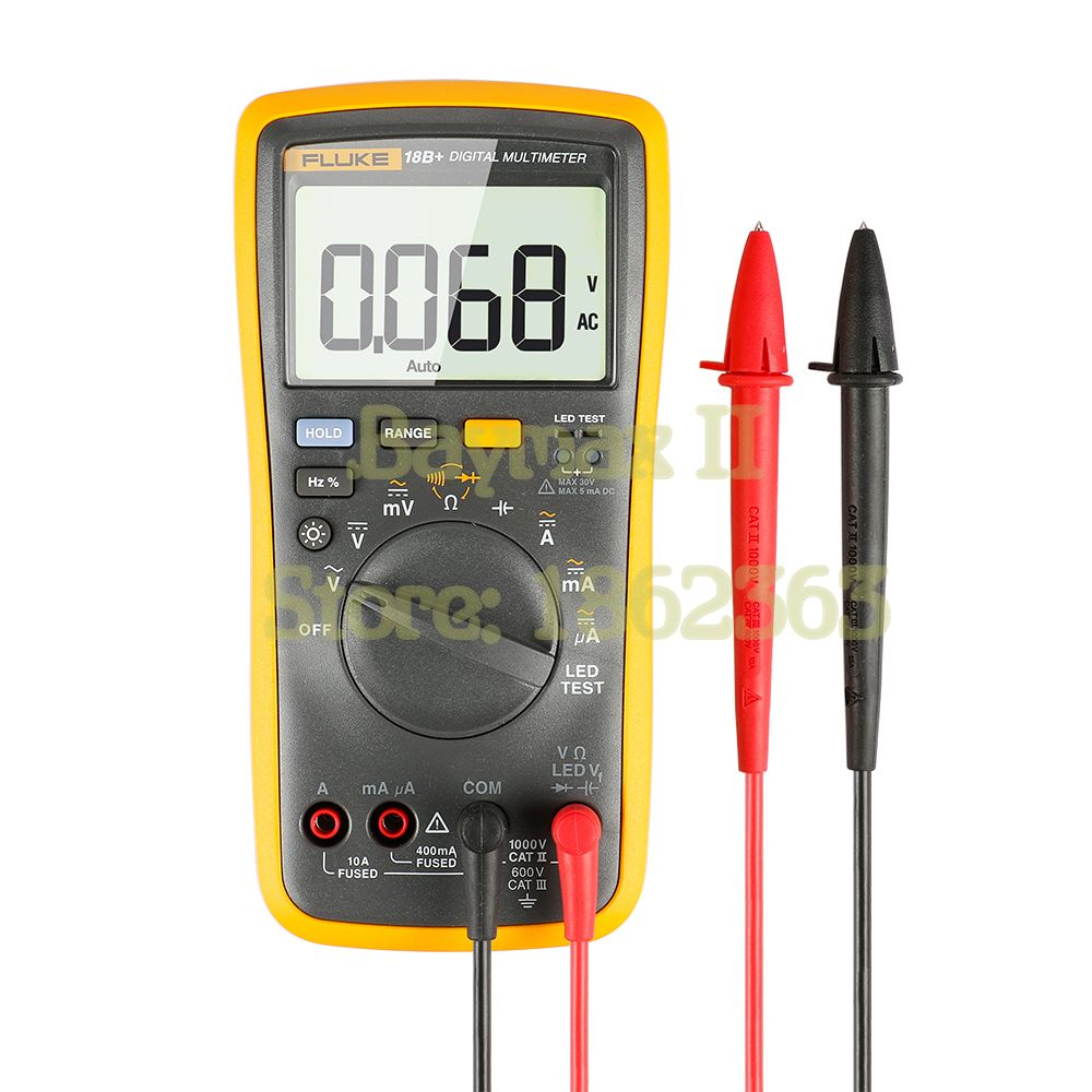 FLUKE 18B+ AC/DC Voltage,Current,Capacitance,Ohm Auto/Manual Range Digital multimeter with LED Test