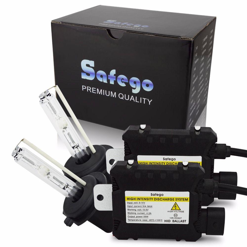 Safego Kit CACHÉ PAR Xénon 55W H1 H3 H4 H7 H8 H10 H11 H27 HB3 HB4 H13 9005 9006 Voiture Phares Ampoules Lampe Salut/Lo Faisceau 12V 6000K Blanc