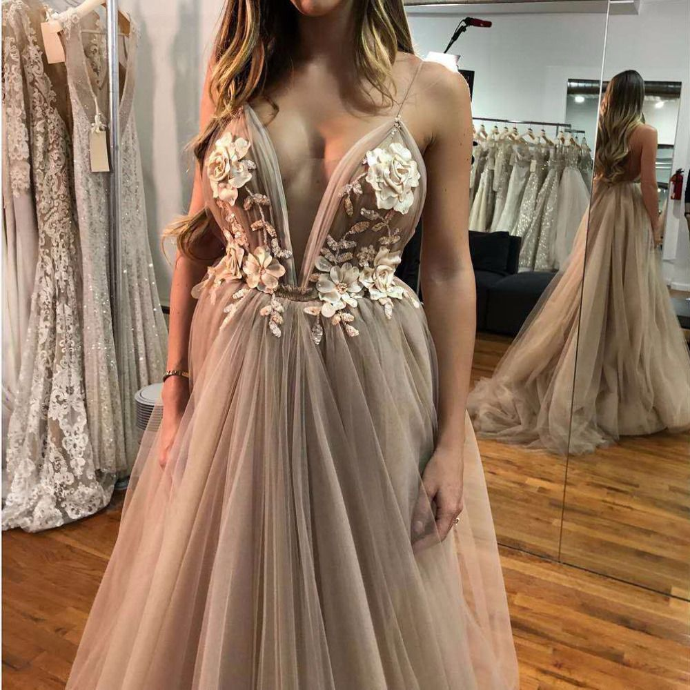 Sexy V Neck Robe De Soiree Longue 2018 Evening Dresses Long A-Line Lace 3D Flower Prom Dress Special Occasion Ball Gown OL103253