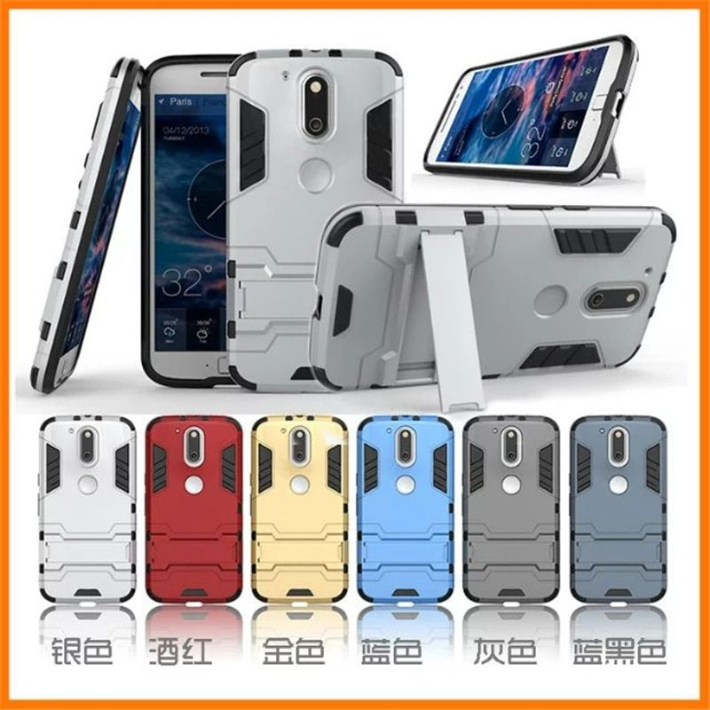 Soft Silicon + PC Hard Armor Iron Man Fitted Case For Motorola Moto G4 / G4 Plus G 4rd Phone Anti-knock Back Cover With Stand