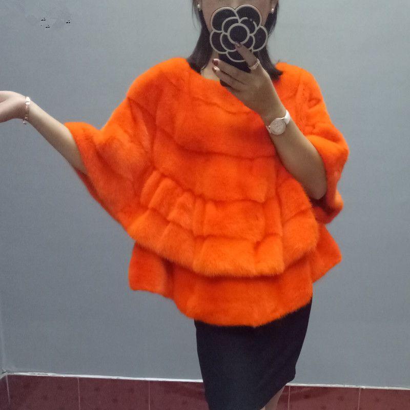 Mink fur fur coat short section mink coat round neck collar bat shirt female 17 autumn and winter new mink shawl