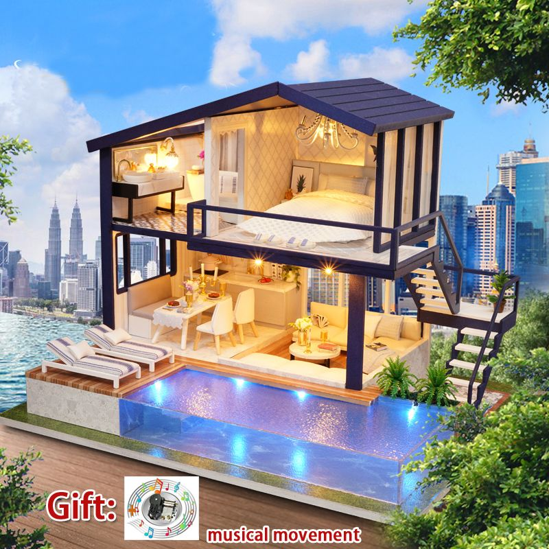Diy Miniature Doll House Large Wooden Toy House Model Kit APARTMENT Big Dollhouse with Music Girl Toys Birthday Xmas Gift