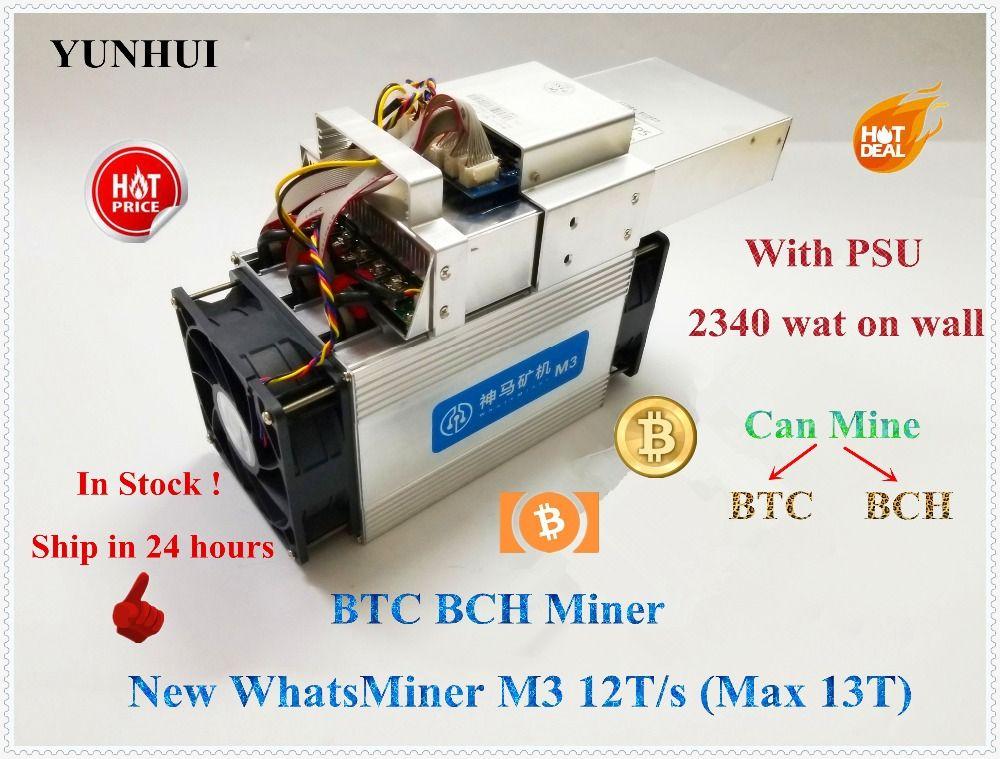 Die Wirtschafts Asic BTC BCH Bitecoin Miner WhatsMiner M3 12 t (Max 13TH/S) mit NETZTEIL Wirtschafts Als Antminer S9 S9i T9 + Ebit E9