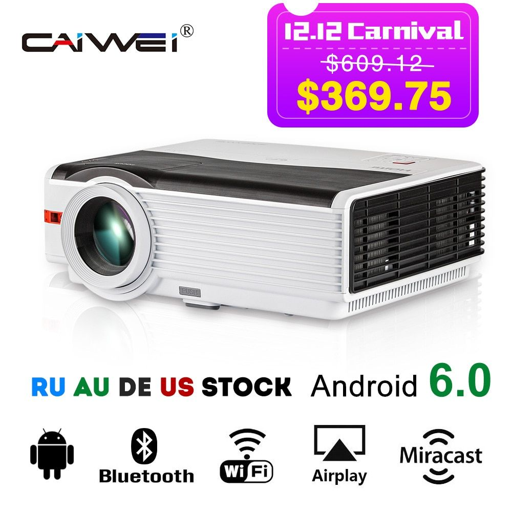 CAIWEI Android Wifi LCD Projector Home Theater Bluetooth Beamer Wireless Sync 1080p Movie Video Games Multimedia VGA USB HDMI