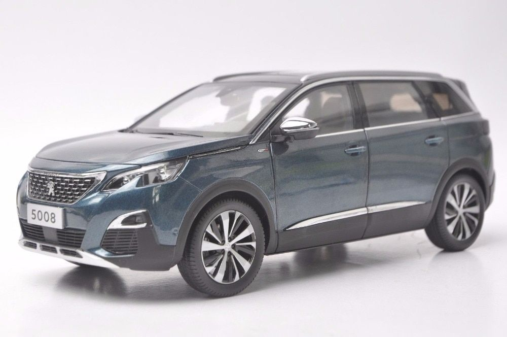 1:18 Diecast Model for Peugeot 5008 2017 Blue SUV Alloy Toy Car Miniature Collection Gift