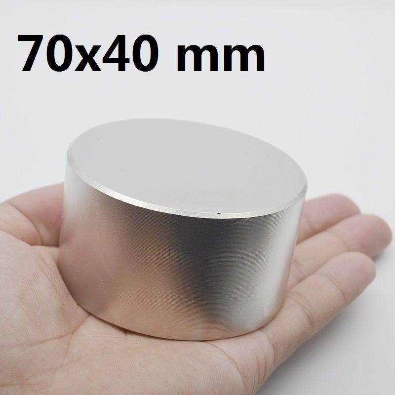 1 pièces N42 aimant néodyme 70x40mm métal gallium chaud super fort aimants ronds 70*40 puissants aimants permanents