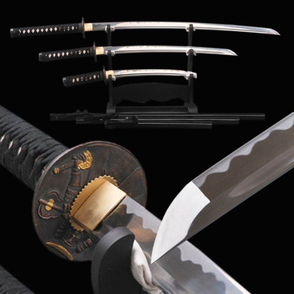 Delicate Decoration Japanese Samurai Swords Set 1060 Carbon Steel Blade Katana & Wakizashi & Tanto Full Tang Sharp Knives