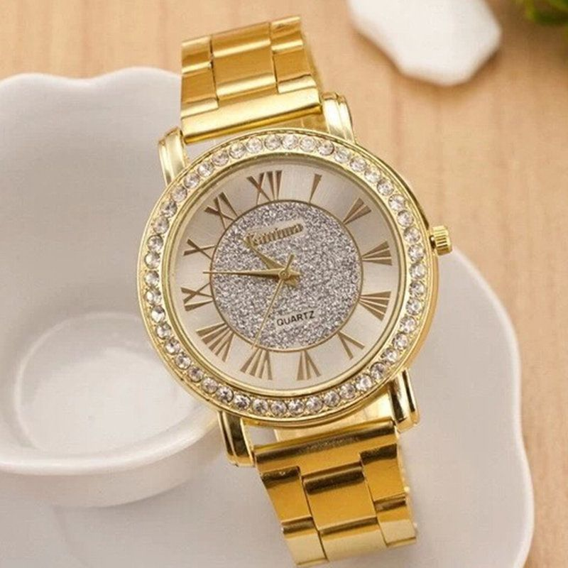 Zegarek Damski New High-end Women Watch Luxury Rhinestone Quartz Watches Ladies Fashion All Steel Wristwatch Gold Reloj Mujer