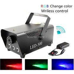 Высокое качество диоды с беспроводным управлением дым машина 500 W/RGB Цвет светодиодная дым-машина/Профессиональный туманообразователь с све...