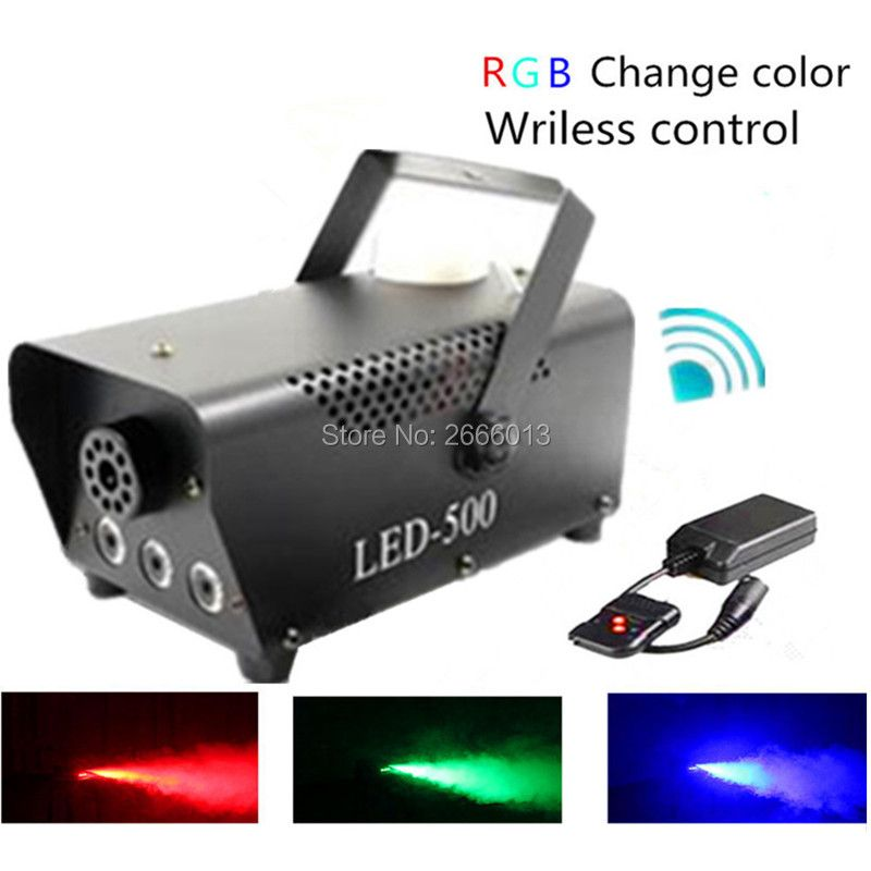 High quality Wireless control LED 500W smoke machine/RGB change color LED fog machine/professional led stage 500w smoke ejector