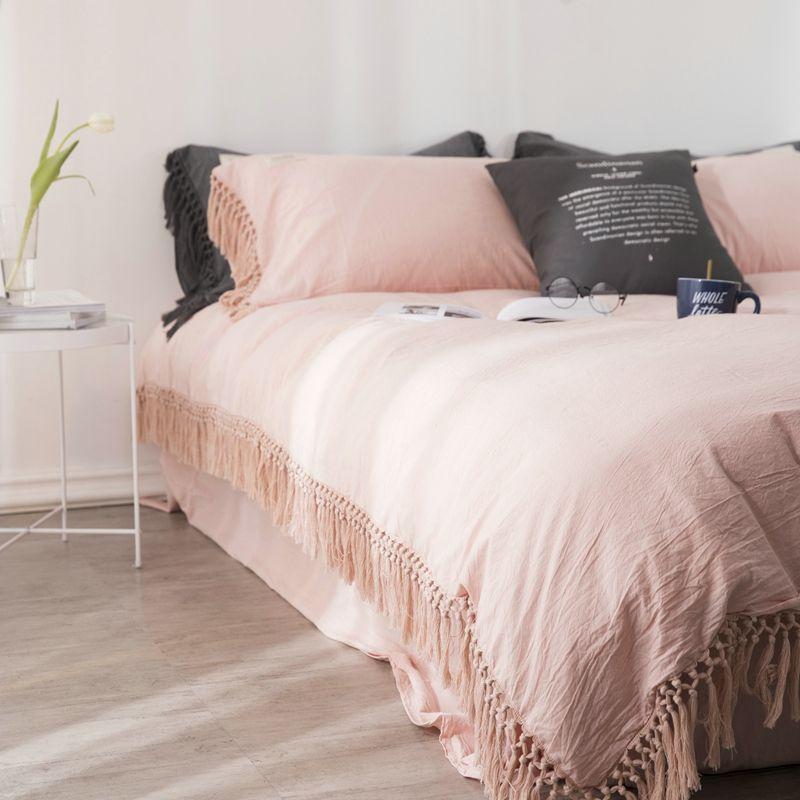 100% baumwolle Bettwäsche Set Twin Königin König größe Bett set mit Quasten bettbezug Bett/Ausgestattet blatt parrure de lit ropa de cama