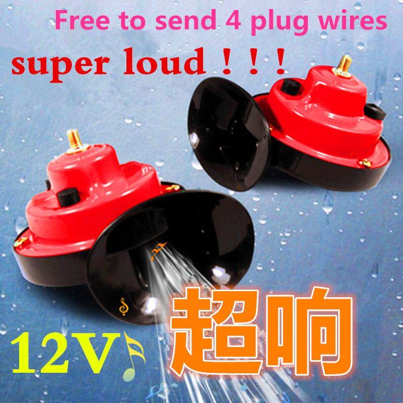free <font><b>shiping</b></font> 2x 12V Snail Air Horn Vehicle Marine Boat Loud Alarm Kit Red for Car Boat Motorcycle Van car horn