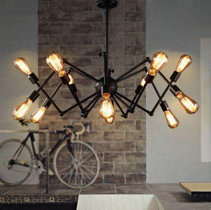 2018 Loft Vintage Restaurant Bar Iron Chandelier Light American Country Expansion Bedroom Office Spider Hanging Lamp Fixture