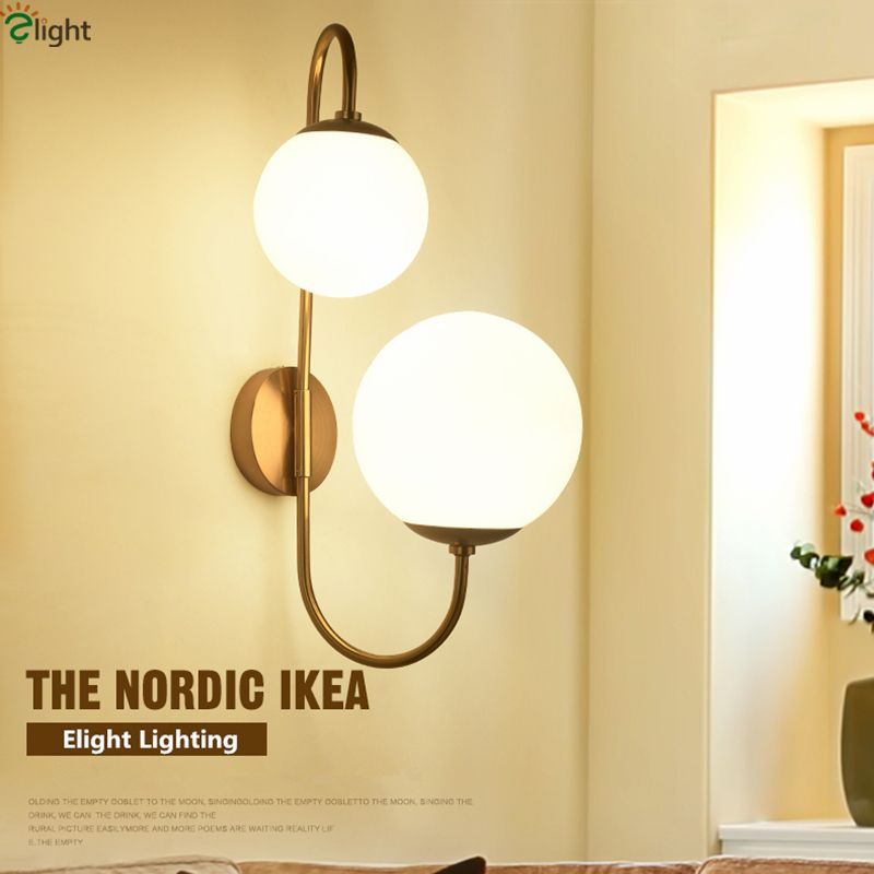 American 2 Light Shaped Rotatable Bedroom Led Wall Lamp Plate Metal Lustre Brush Brass Frosted Glass Ball Wall Lamp