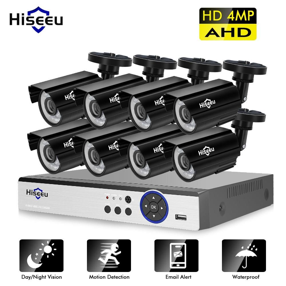 Hiseeu 4MP Security Camera System 8CH AHD DVR Kit 4/8PCS 4.0MP HD Indoor Outdoor CCTV Camera P2P Video Surveillance System Set