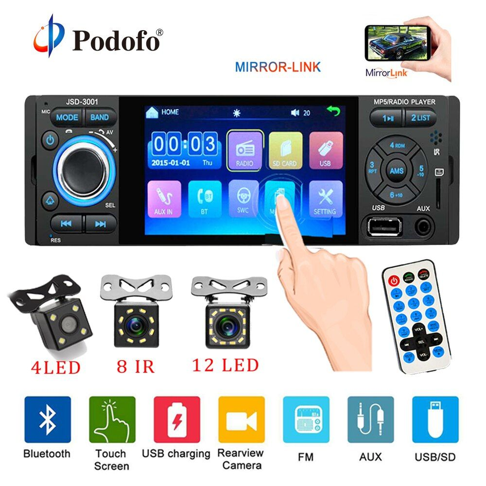 Podofo Car Radio 1din jsd-3001 autoradio 4 inch Touch Screen Audio Mirror Link Stereo Bluetooth Rear View Camera usb aux Player