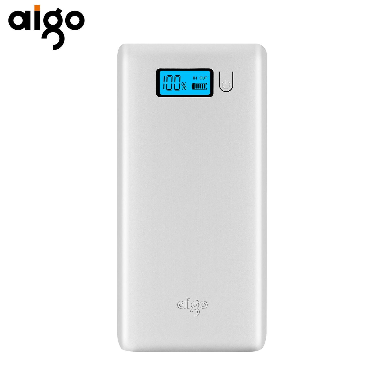 Aigo Energienbank 20000 mAh Dual Usb-bewegliche Externe Batterie Schnellladung mit LED-Licht Handy Power für Xiaomi Huawei