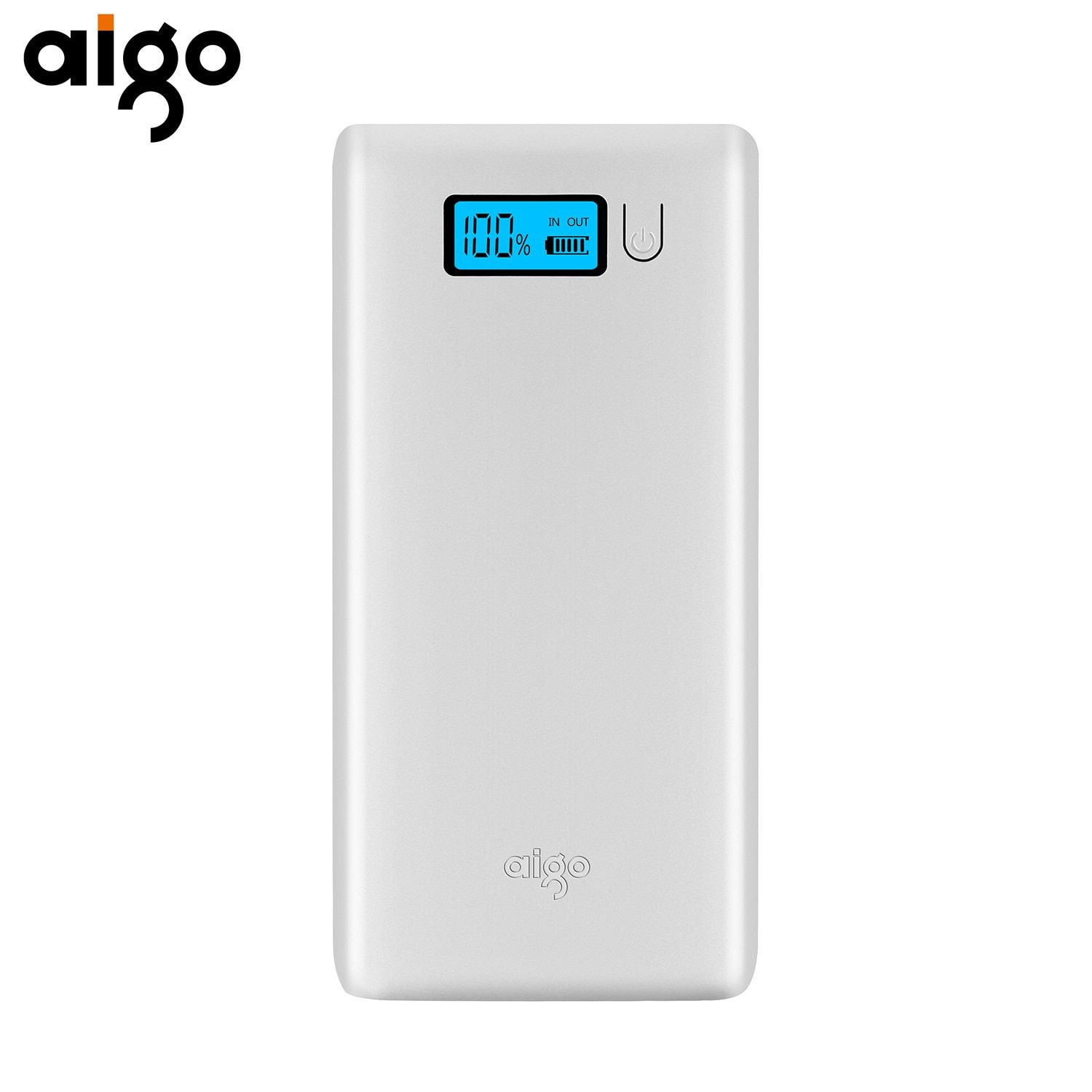 Aigo Power bank 20000mAh Smart Battery LCD Display Dual USB LED Light Portable High Speed Charging Powerbank External Batteries