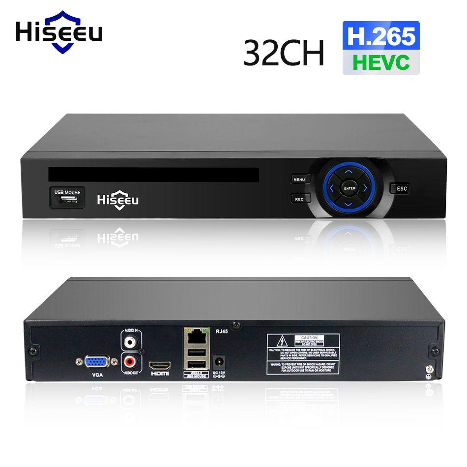 Hiseeu 2HDD 25CH 5MP 32CH 1080 P 8CH 4 K CCTV H.264/H.265 NVR DVR enregistreur vidéo réseau Onvif 2.0 pour caméra IP 2 SATA XMEYE P2P