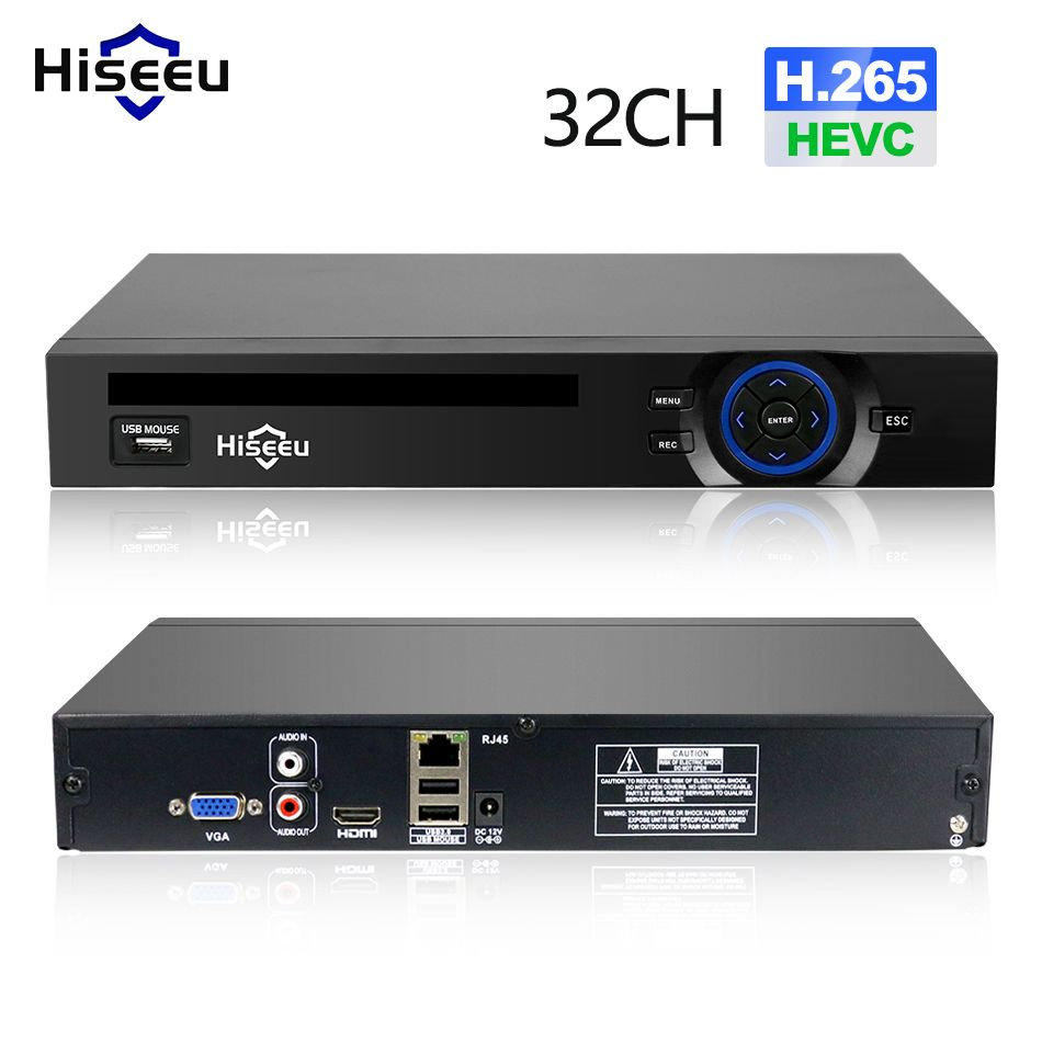 Hiseeu 2HDD 25CH 5MP 32CH 1080P 8CH 4K CCTV H.264/H.265 NVR DVR Network Video Recorder <font><b>Onvif</b></font> 2.0 for IP Camera 2 SATA XMEYE P2P