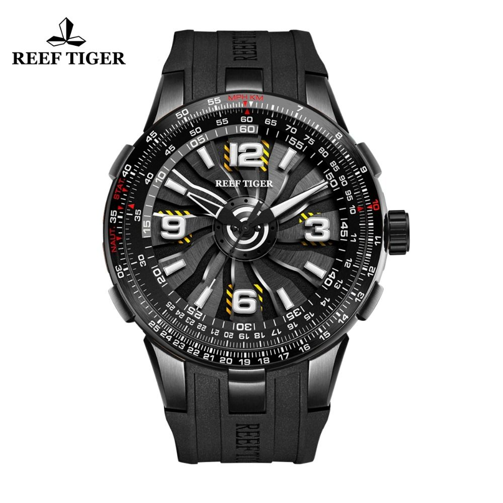 New Reef Tiger/RT Men's Sport Automatic Watches Black Steel Military Watch Luminous Watch Waterproof 2018 Luxury Brand RGA3059